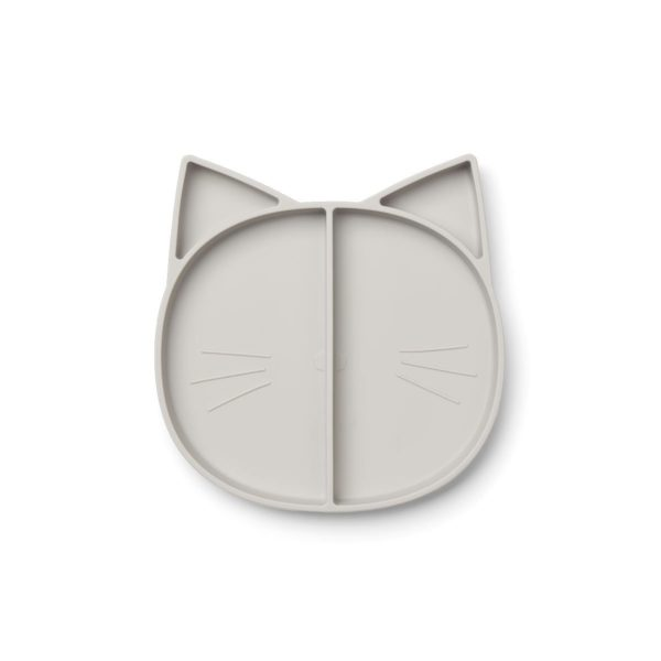 Kids Silicone Divided Plate grey cat