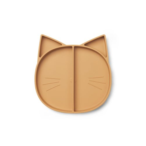 Silicone Divided Plate for kids mustard cat