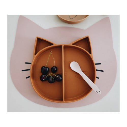 Kids Divided Plate Cat shaped, Mustard colour