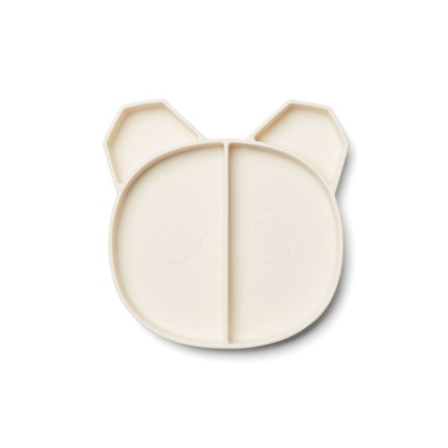 Cream Silicone Divided Plate Panda Face