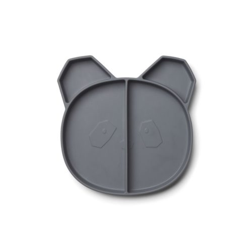 Stone Grey Panda shaped Silicone Divided Plate Liewood