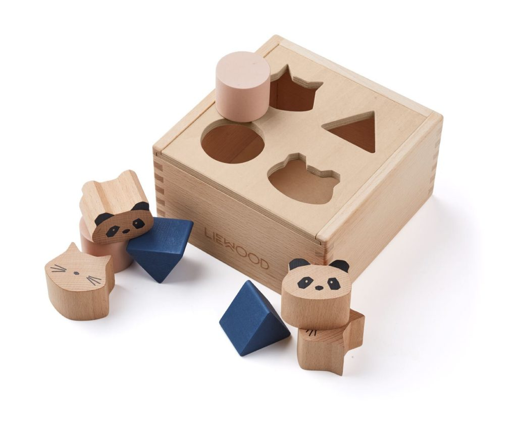 wooden toy shape sorter box with shapes