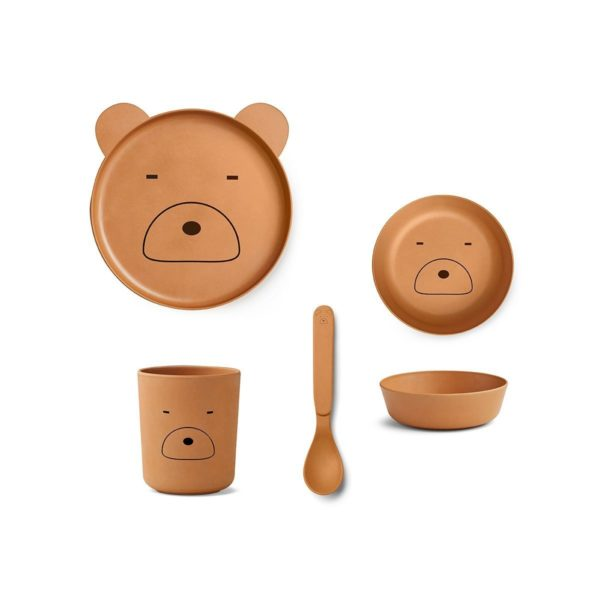 Bamboo Bear plate set with a plate, bowl, cup, spoon