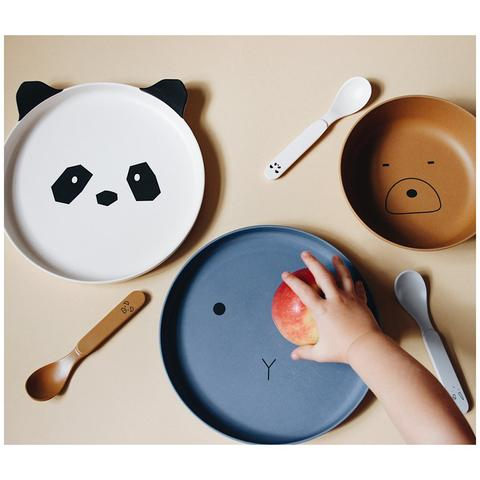 Kids Bamboo plates - brown bear, blue cat and white panda