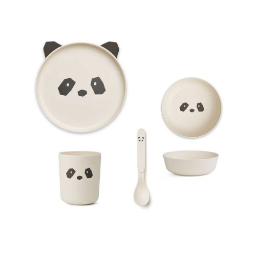 Panda face bamboo plate set for babies - cup, plate, cup, spoon
