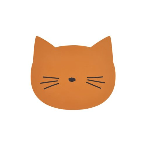 Silicone Place mat for kids cat in mustard