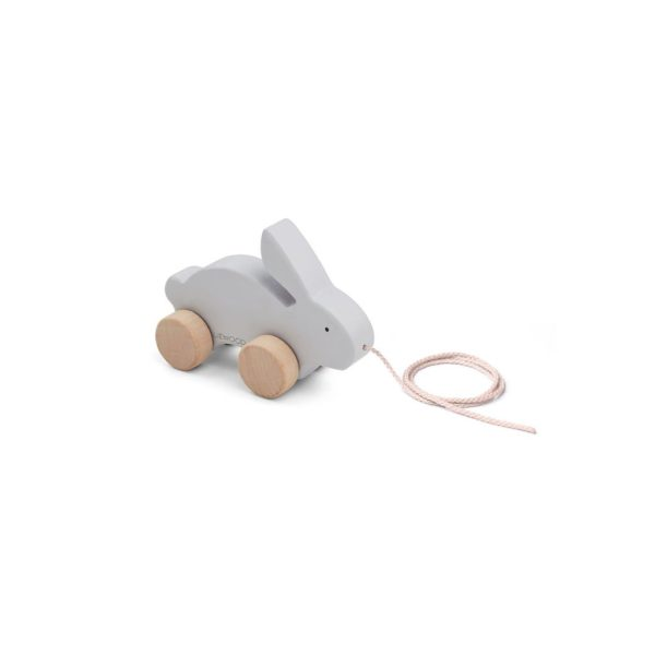 Wooden pull along toy rabbit grey colour