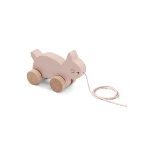 wooden, rose Pull along toy rabbit