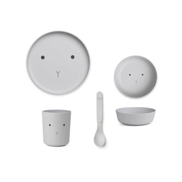 Kids Bamboo Plate Set with a grey rabbit face