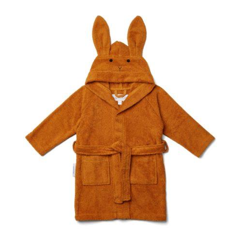 Baby bathrobe mustard colour with bunny face