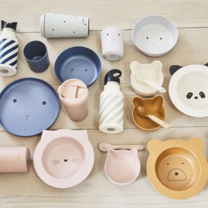 Kids plates and tableware made of bamboo - plates, cups, spoons, bottles etc