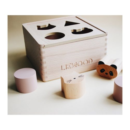 Wooden Shape Sorter toy with shaped blocks