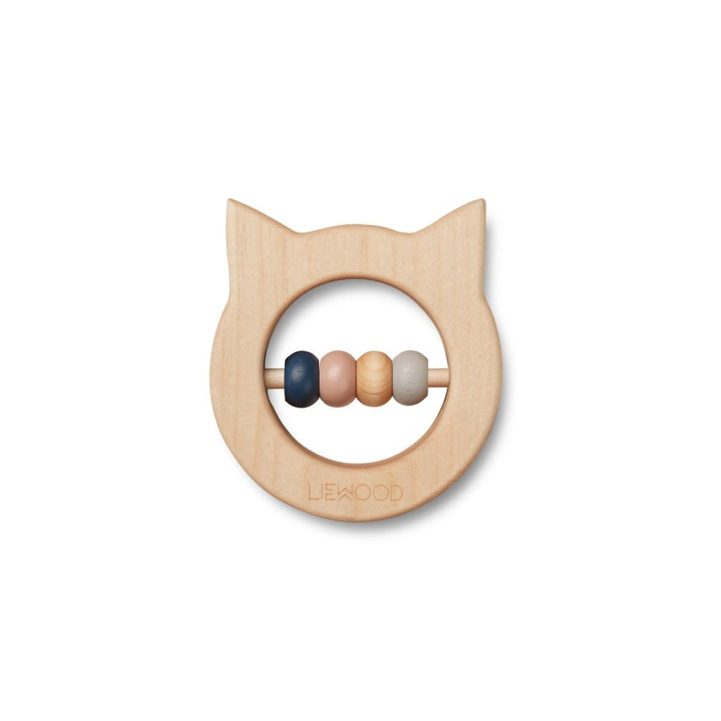 wooden teether and rattle in a cat shape