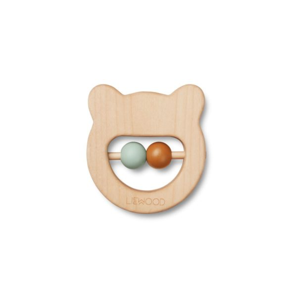 Wooden teether in the shape of a bear