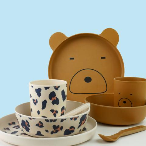 2 kids plate sets - brown bear plate, cup, spoon and bowl and leo plate, bowl, cup, spoon