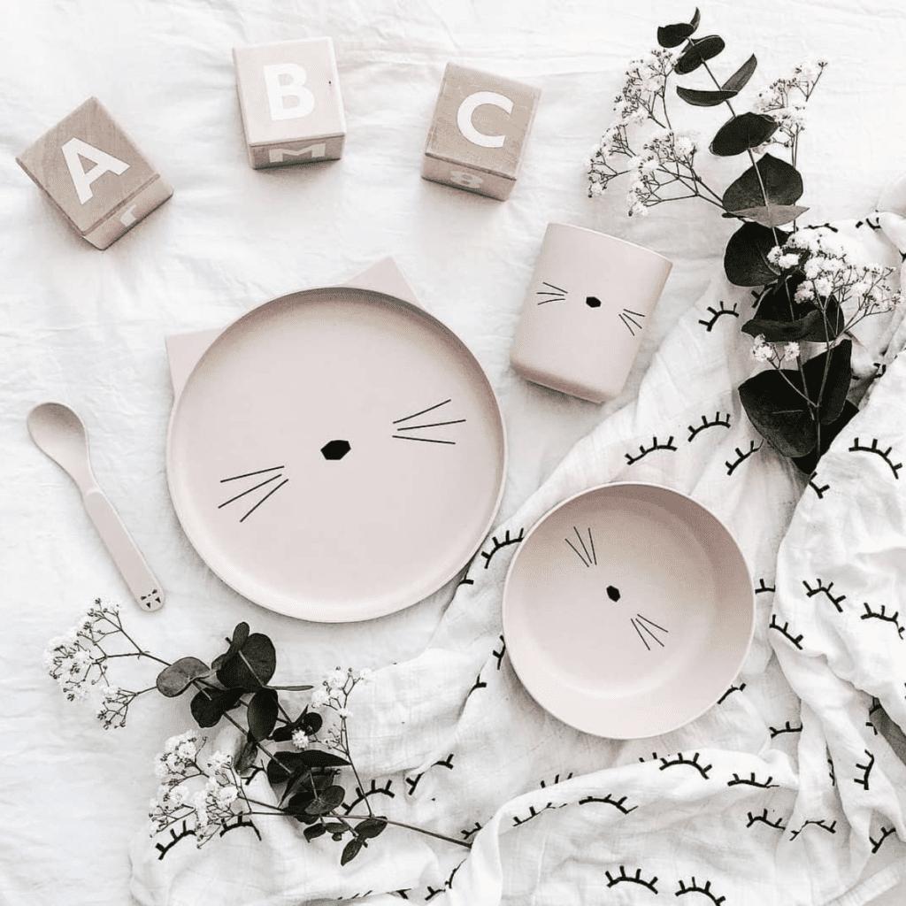 Pink cat ears kids bamboo plate tableware set