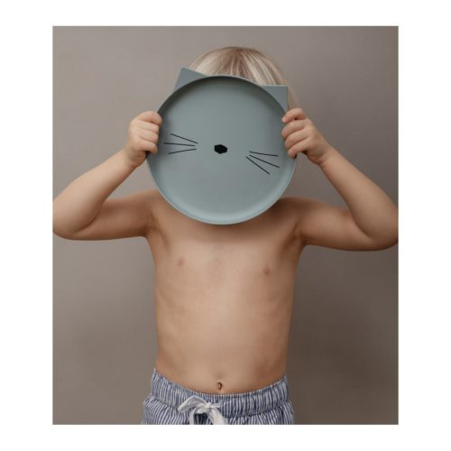 Non-toxic bamboo kids plate in dusty mint cat