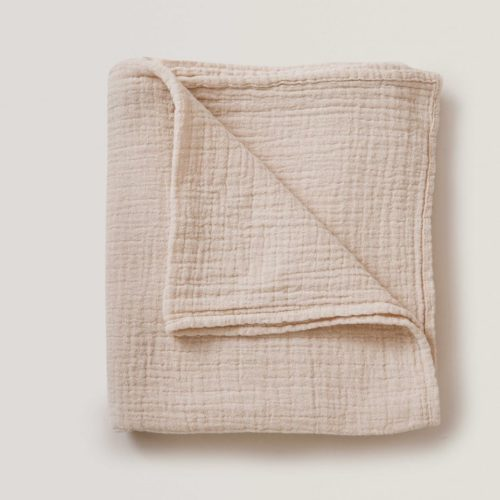 nude coloured soft cotton baby muslin swaddle blanket