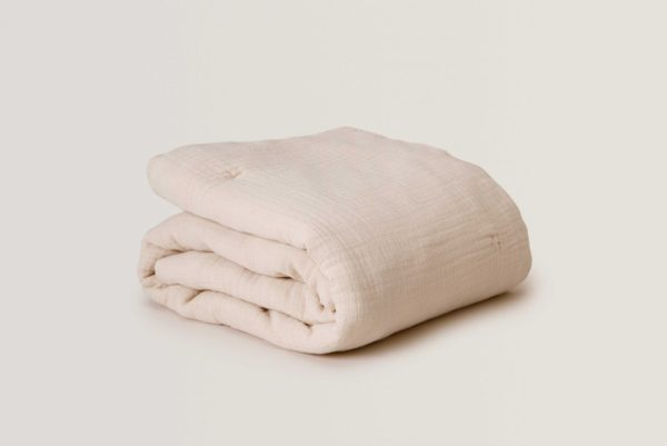 pale pink soft thick filled muslin quilt blanket