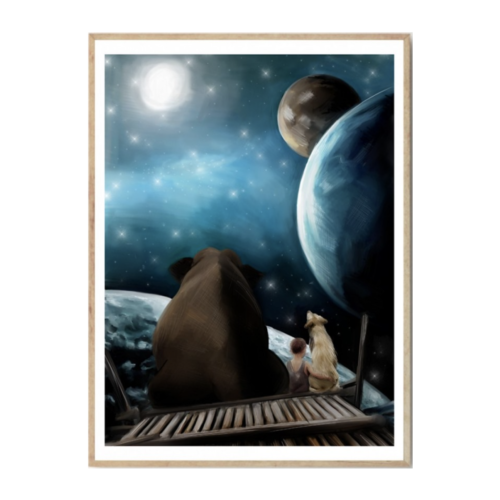 nursery wall print night sky with elephant, dog, child sitting together