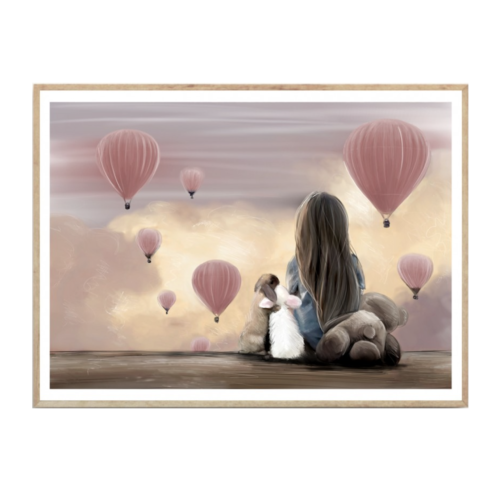 Nursery wall print girl sitting watching pink hot air balloons with two hugging rabbits