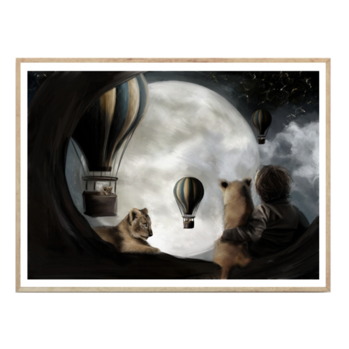 Nursery wall print of lions on full moon watching hot air balloons