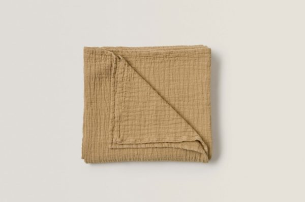Straw coloured soft cotton baby swaddle blanket