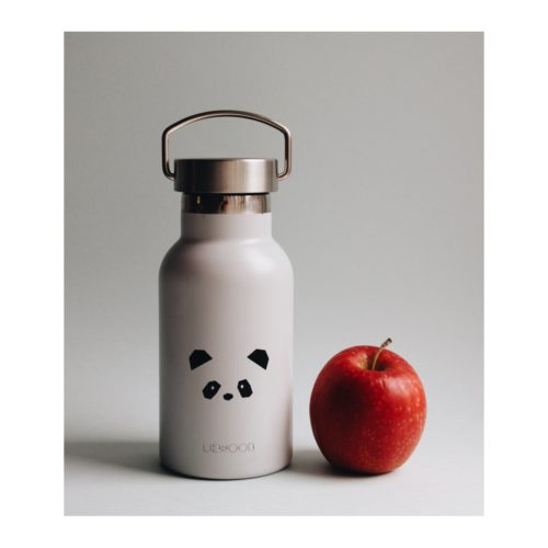 Liewood grey panda water bottle for kids next to an apple