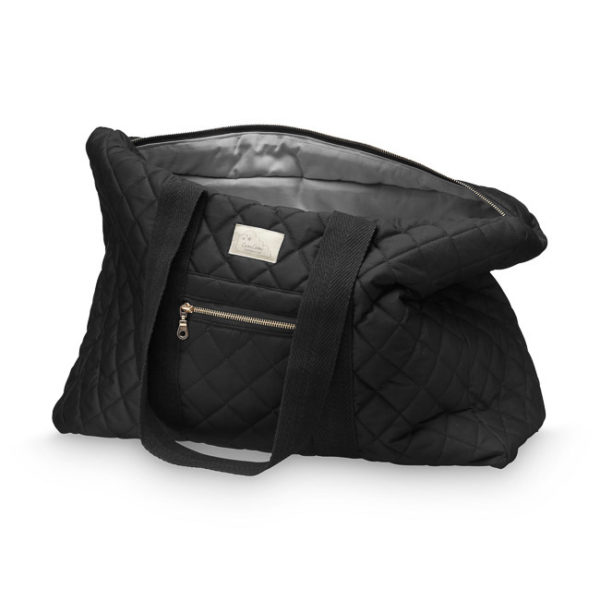 Large black weekend nappy bag from organic cotton