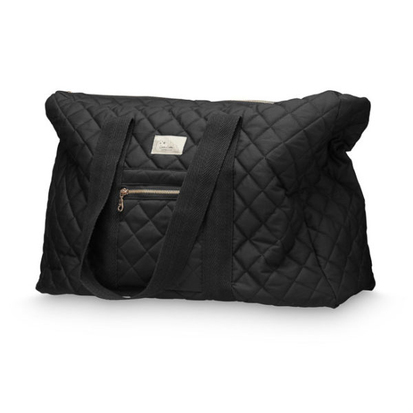 Stylish quilted weekend nappy bag with brass zippers in black