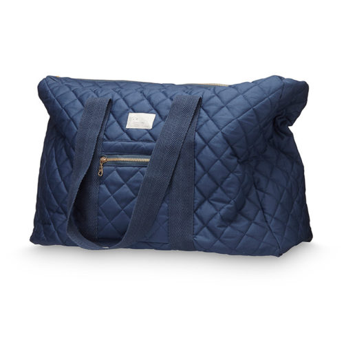 Large quilted weekend nappy bag in navy with brass zippers