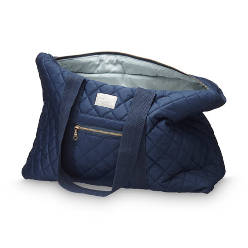 Organic cotton navy weekend bag with two handles and brass zippers