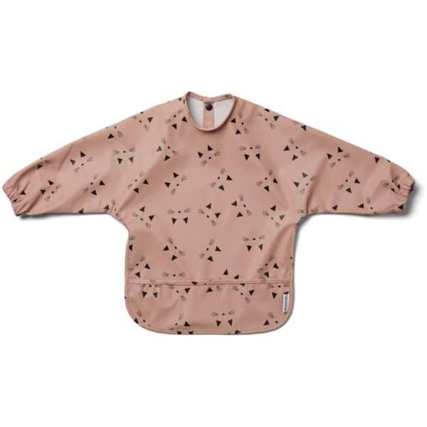 baby smock cape bib in rose cat colour