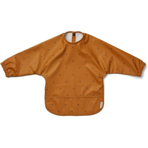 Toddler smock bib in mustard with black dots