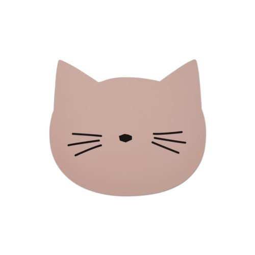 Kids silicone placemat in pink cat shape