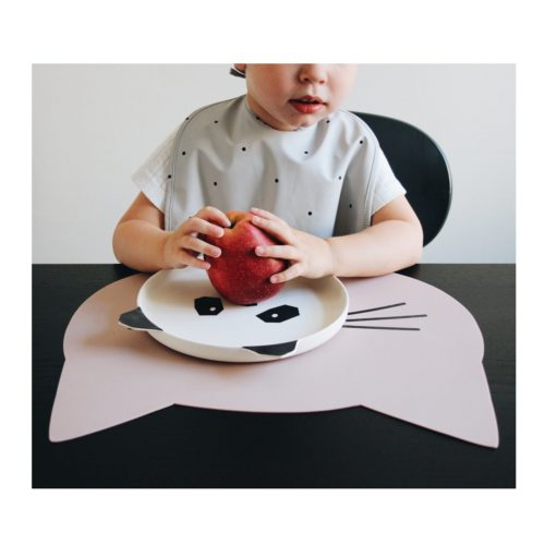 kids pink cat shaped silicone placemat with white panda plate on top with apple