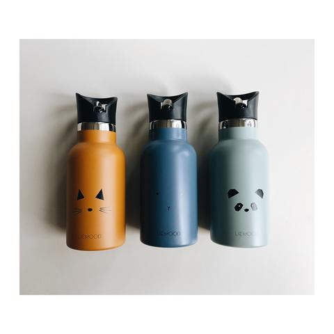 three kids stainless steel water bottles in mustard, blue and mint colour