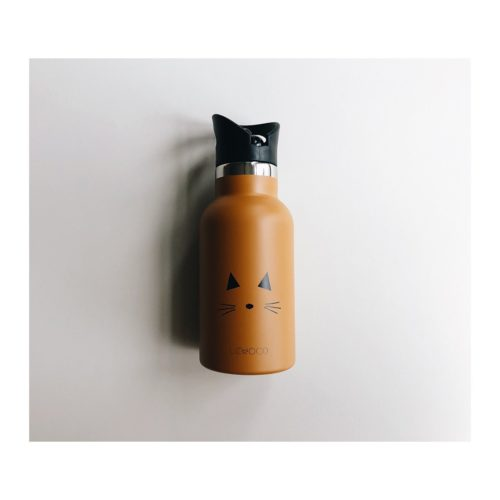 Kids stainless steel water bottle in mustard with cat face on it