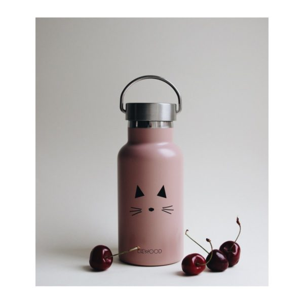 Baby pink water bottle with cat picture