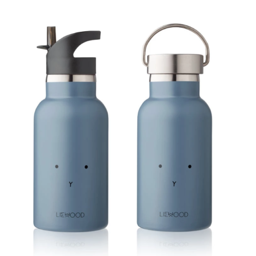 two stainless steel kids water bottles in blue rabbit with two different lids