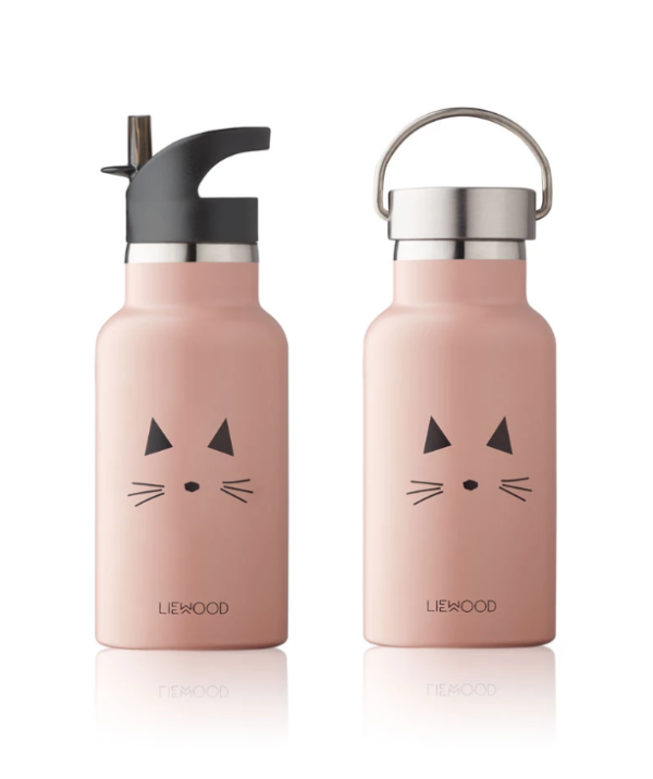 Rose Cat water bottles for kids that have to different spouts