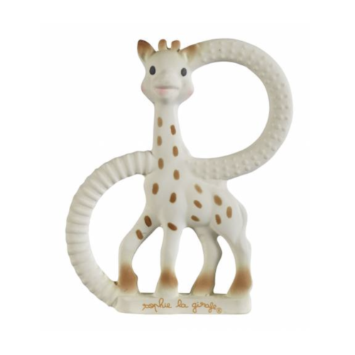 Giraffe shaped baby teething ring from natural rubber