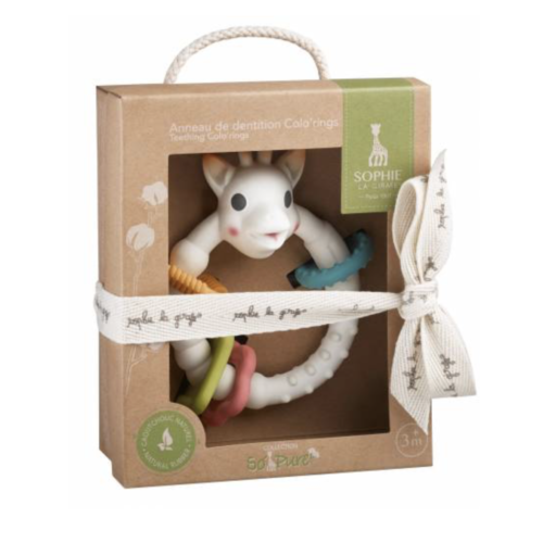 lovely gift box Sophie the Giraffe Colo'rings teether with ribbon around it