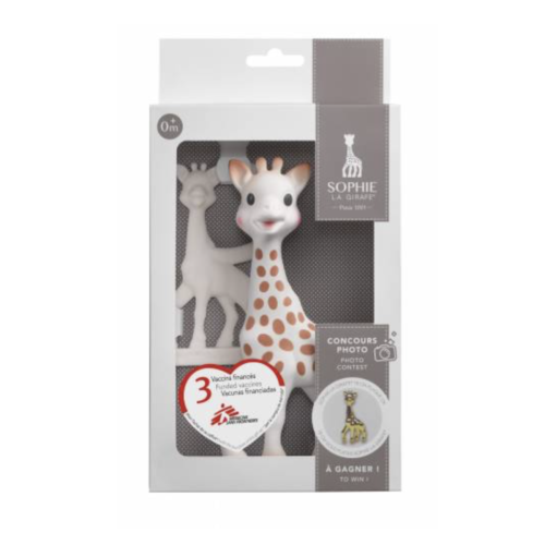 grey box of Sophie the giraffe teether gift set for babies