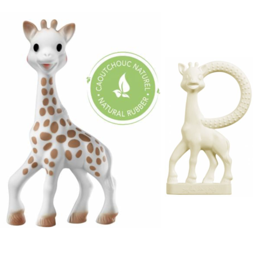 Original sophie the giraffe teether and smaller white sophie teething ring