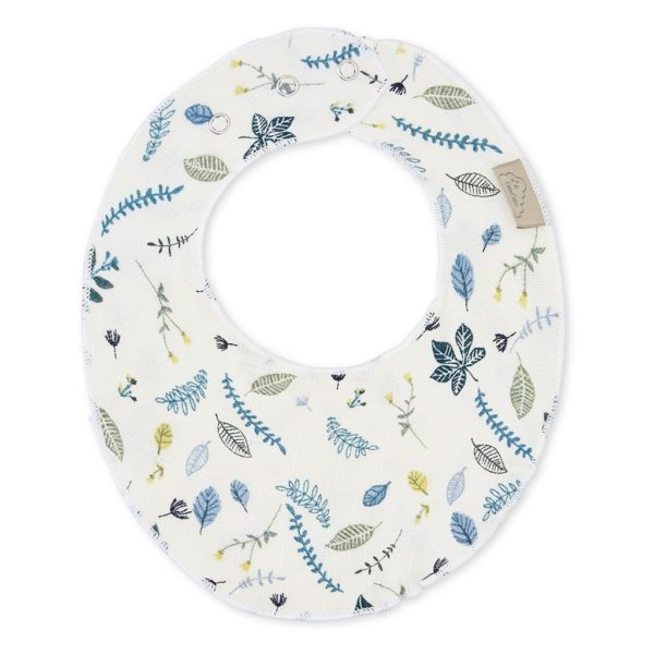 baby teething bib in lovely blue pattern with delicate embroidery around it
