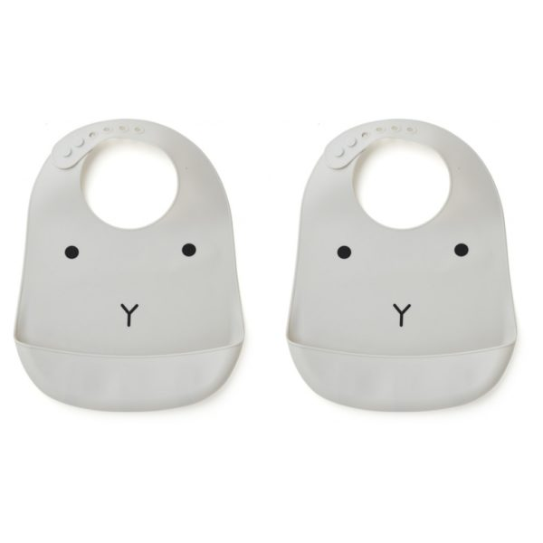 two grey silicone bibs with rabbit faces
