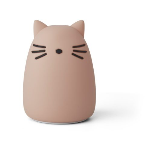 Kids pink silicone night light in a shape of cat