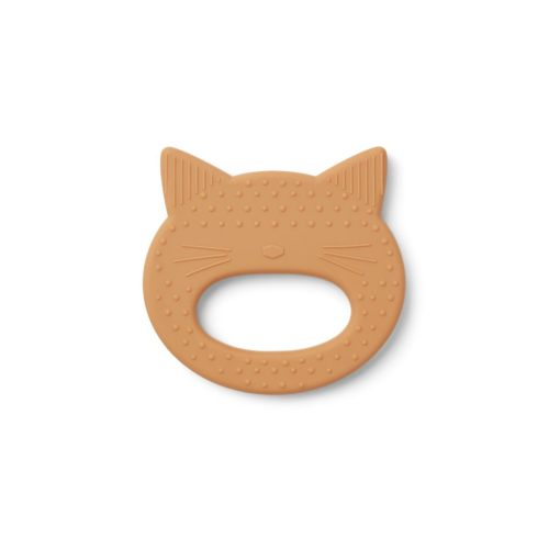 baby silicone cat shaped teething toy in mustard colour