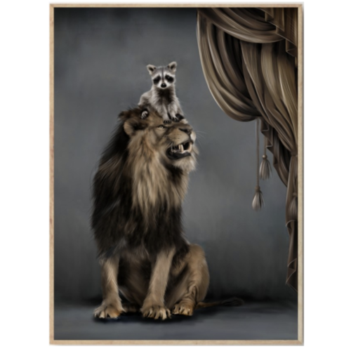 Kids nursery wall print in dark colours with raccoon sitting on lion's head